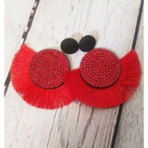 ✨NEW Red Rhinestone Fringe Tassel Earrings